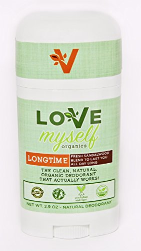 The MOST Clean, Organic and Natural Deodorant that Actually Works! Coconut Oil based, Aluminum Free, Vegan, All-Natural Organic Deodorant that keeps you Fresh Smelling. Great for Men, Women, Teens and Kids! The Love Myself Organics – LONGTIME Sandalwood Blend (Love Child Organics)
