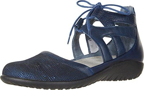NAOT Footwear Women's Lace-up Kata Shoe Navy Reptile Lthr/Ink Lthr/Polar Sea Lthr 6 M -
