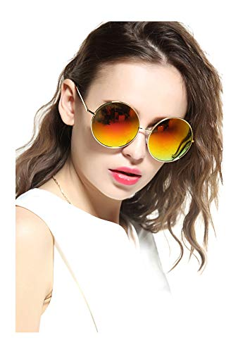GEELOOK Oversized Round Circle Mirrored Hippie Hipster Sunglasses - Metal Frame