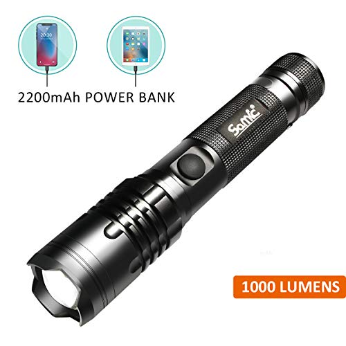 Rechargeable Flashlight - Ultra Bright 1000 High Lumens LED Torch, 3 Modes - Small and Compact, with Clip - Ideal EDC Flashlight for Pocket - USB and Micro USB Charging Port, Adaptor Included