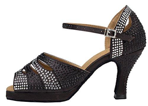 CFP PPC yyc-l128para mujer Sexy Latin Tango salón de baile zapatos de baile satinado profesional mediados de talón Negro - negro