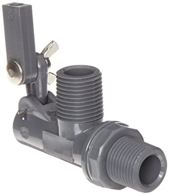 "Kerick Valve PT050525 PVC Float Valve, Tank Mount, 12.5 gpm at 60 psi, 1/2"" NPT Male"