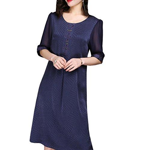 Übergröße Kleider Midi Cocktail Gestreift Blau Abendkleid Seide DISSA Damen Kleid S2518 aqXAqZ