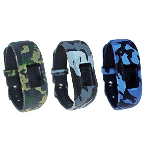 For Garmin Vivofit 3 / Vivofit JR Bands(6-8.5inch)RuenTech Replacement Soft Silicone Adjustable Wristbands Strap For Garmin Vivofit 3 and Vivofit JR (3-PACK A) by RuenTech