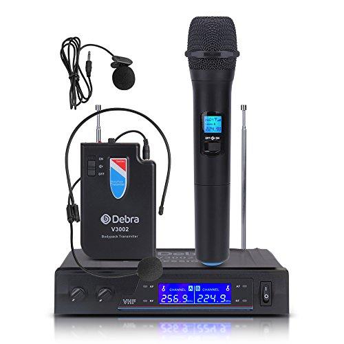 [해외] V3002 VHFwireless 소형 마이크로 포스 폰과 헤드셋 마이크 부착 러버 리어―마이크시스템