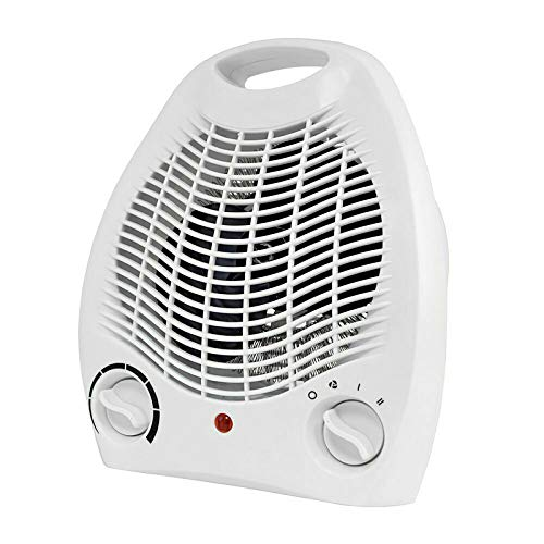 2 in 1 Fan Heater 2KW 2000W Small Portable Electric Hot Warm Air Upright Adjustable Thermostat different Heat Settings