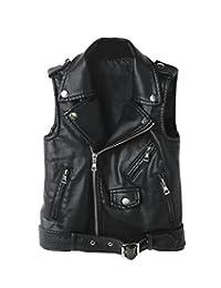 LOKTARC Kids Faux Leather Sleeveless Jackets Motorcycle Vest for Boys & Girls