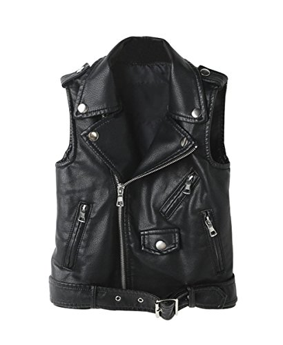 LOKTARC Kids Faux Leather Sleeveless Jackets Motorcycle Vest Black 11-12 Years -