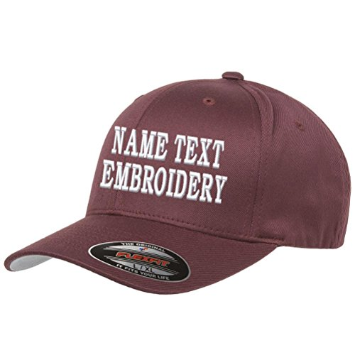 Custom Embroidery Hat Personalized Flexfit 6277 Text Embroidered Baseball Cap - Maroon