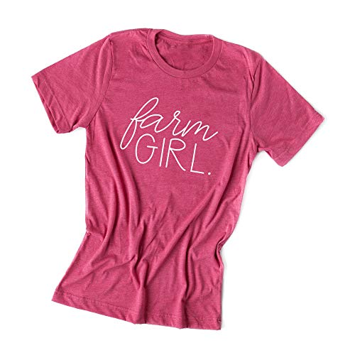 Farm Raspberry - Simply Sage Market Farm Girl-Raspberry Crew-White Ink-XS