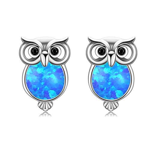 White Owl Girl (Owl Earrings, Owl Jewelry 18K Gold Plated Sterling Silver Small Cute Opal Stud Earrings for Women Girls)