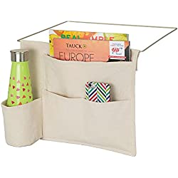 mDesign Bedside Storage Organizer Caddy Pocket - Slim Space Saving Design, 4 Pockets - Heavy Cotton Canvas - Holds Water Bottles, Books, Magazines - Cream/Wire Insert in Matte Satin