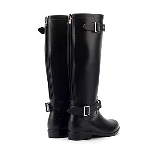 Tube Rain Boots High Shoes Womens slip Rainboots Black Non Rubber Fashion Waterproof Meijunter qxBnwZfB
