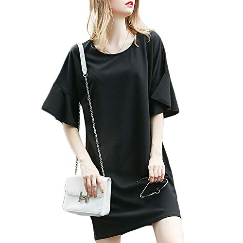 Iyasen Women's Solid Color Round Neck Half Ruffle Bell Sleeve Casual Shift T Shirt Dress Black L