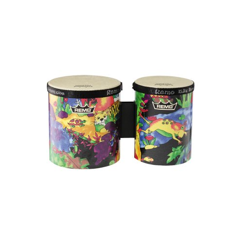 "Remo Kids Percussion Bongo Drum - Fabric Rain Forest, 5""-6"""