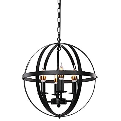 "Lika 4-Light Chandeliers 15.8"" Rustic Farmhouse Black Pendant Light with Industrial Metal Spherical Shade for Kitchen Island, Dining Room, Farmhouse, Foyer"
