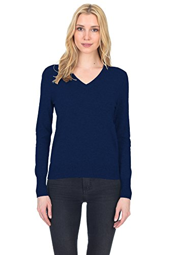 - State Fusio Women's Cashmere Wool Long Sleeve Pullover V Neck Soft and Classic Fashion Sweater Navy