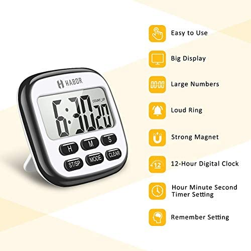 home, kitchen, kitchen, dining, kitchen utensils, gadgets, thermometers, timers,  timers 12 discount Habor Kitchen Timer, 24-Hours Digital Timer [Multifunctional promotion