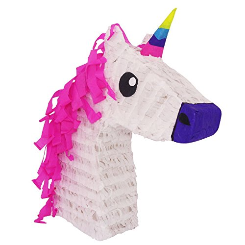 LYTIO - Pinata Stylish Unicorn with Pink Hair and Multicolored Horn - Perfectly Designed for Unicorn Themed Parties– Functions as a Center Piece, Photo Prop, Piñata and (Girly Party Decorations)