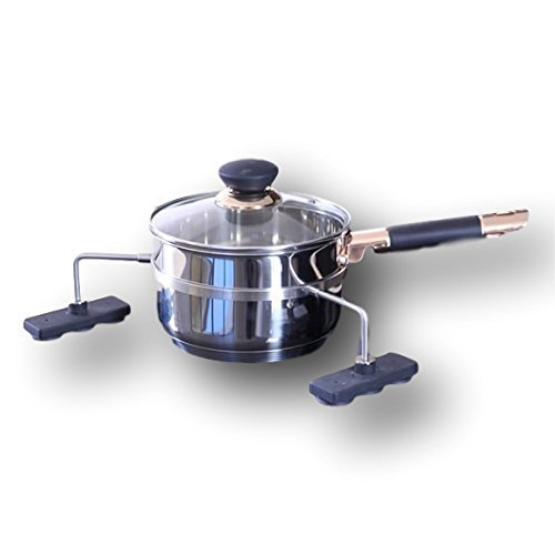 Potsafe Stainless Steel 1 Quart Sauce Pan and Stove Guard Ring - Locks Pots in Place and Keeps Adults & Children Safe