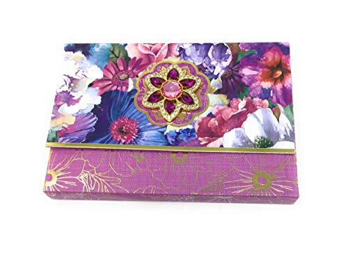 (Punch Studio Floral Note Cards with Decorative Brooch Box 65261)