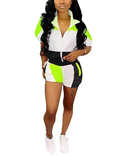 Women Two Piece Set Outfits - Windbreaker Jacket