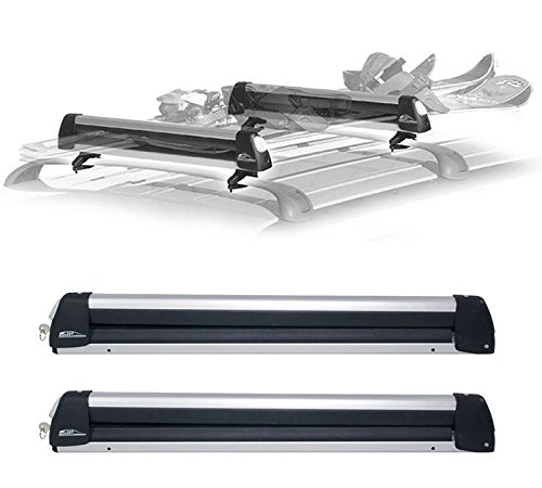 Rooftop SnowRack Plus Ski Rack for Cars Fits 6 Pairs Skis or Fits 4 Snowboards, Fit most of the flat and round and thick crossbars
