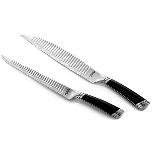 casaWare Groovetech 2-Piece Carving Set (9-Inch Carving and 9-Inch Serrated Bread Knife) by casaWare
