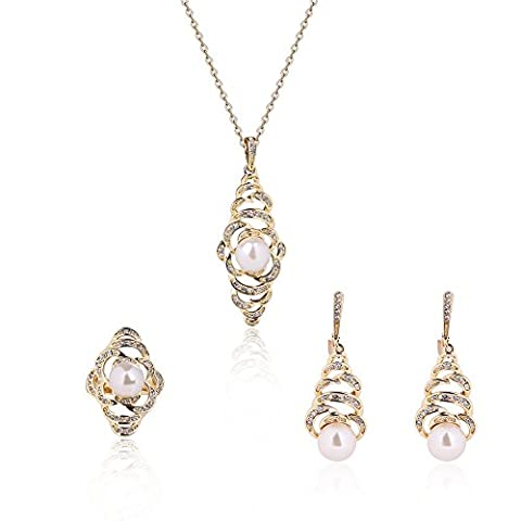 Elegant Silver Plated Pearl Necklace 丨Drop Earrings Sets 丨Crystal jewelry Set for Wowen Wedding Bridal - Pearl Graduation Charm