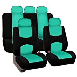 FH GROUP Stylish Cloth Full Set Car Seat Covers (Airbag & Split Ready), Mint / Black Color- Fit Most Car, Truck, Suv, or Van