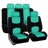 FH GROUP FH-FB050115 Full Set Flat Cloth Car Seat Covers, Mint / Black- Fit Most Car, Truck, Suv, or Van