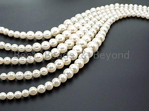 Jewelry Making Supplies - 15inch Strand Natural MOP Round Graduated Beads, 8-16mm White Round Polished Mother of Pearl, Bride Bridesmaid Wedding Supply, SKU#U46 - Perfect and Stunning - Crystal Mop Round