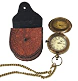 Collectibles Buy Victoria London Brass Pocket Watch 1876 Vintage Anchor Antique Style Push Button Leather Case Pendant