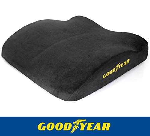 (Goodyear GY1011 - Seat Cushion for Office Chair or Car / SUV - 100% Pure Memory Foam - Soft Plush Cover - Fits Most Seats - Non-Slip Bottom - Designed for Maximum Comfort - Washable Cover)