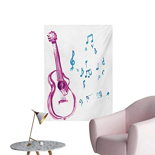 - Anzhutwelve Guitar Photographic Wallpaper Watercolor Musical Instrument with Notes Sheet Elements Brush Stroke EffectMagenta Blue White W32 xL48 Custom Poster