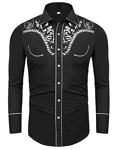 Uniboutique Men's Classic Fit Embroidered Paisley Slim Fit Long Sleeve Casual Button Down Shirt Black XL