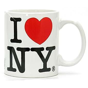 Amazon.com: I Love NY blanco 11 oz taza de café, Microondas ...