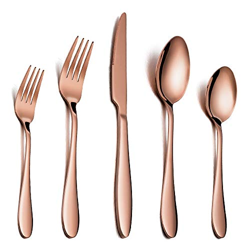 Silverware Set Copper Color Service for 4, E-far 20 Piece Brass Gold Stainless Steel Flatware Cutlery Set, Perfect for Wedding/Party/Restaurant/Hotel, Mirror Polished & Dishwasher Safe