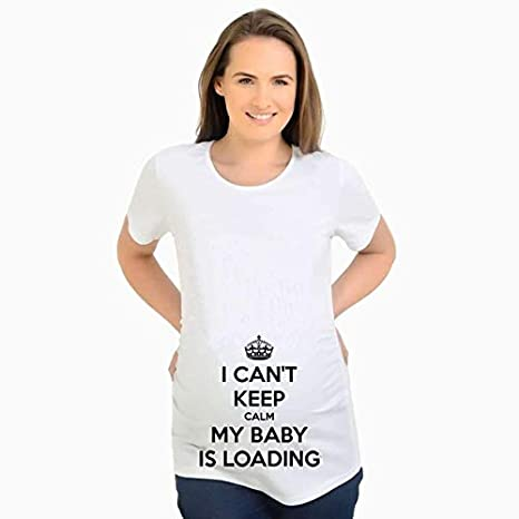 7f8fb0b2 Maternity Tops for Pregnant Women Short Sleeve Pregnant t Shirt with Baby  Girl Print tees Funny Pregnancy t-Shirts Plus Size XXL:1, S: Amazon.in: Baby