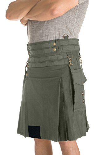 Damn Near Kilt 'Em Men's Tactical Kilt X-Small Military Green by Damn Near Kilt 'Em (Image #1)