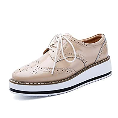 Yong Ding Women Platform Brogues Shoes Leather Retro Style Lace Up Oxfords Shoes Ladies Wedge Heel Brogues Khaki
