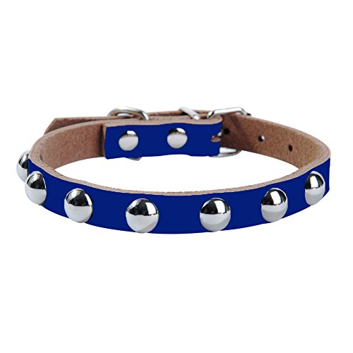 LLtidmsWL Personalized Premium Dog Collar with Metal Clasp Soft Fabric Adjustable Dog Collar Cool Adjustable Faux Leather Metal Rivet Studded Small Dog Puppy Cat Pet Collar Dark Blue S