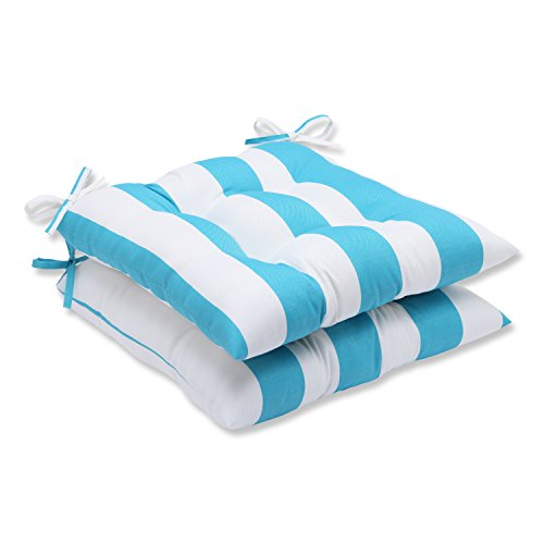 Cabana Furniture Outdoor - Pillow Perfect Outdoor Cabana Stripe Wrought Iron Seat Cushion, Turquoise, Set of 2