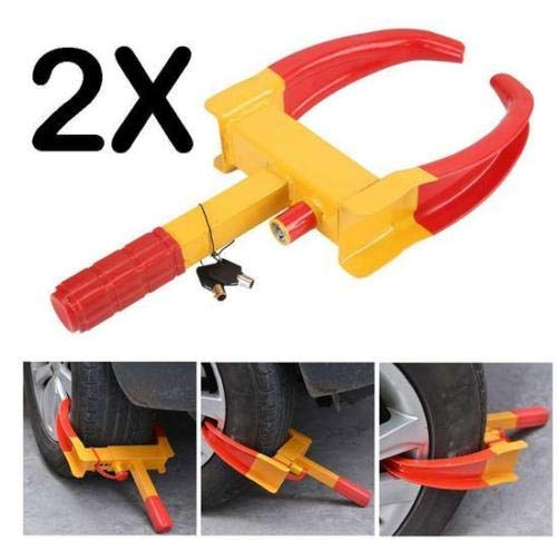 MKS X2 HEAVY DUTY WHEEL CLAMP ANTI-THEFT LOCK CARAVAN TRAILER SECURITY + 2 KEYS CHN