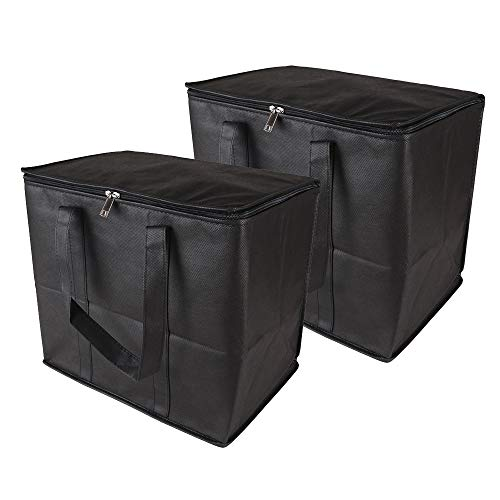 (Ezek Reusable Insulated Grocery Bags in Black, Stand Upright, Double The Sturdy Zipper, Eco-Friendly Heavy Duty Non-Woven Reinforced Bottom & Handles. )
