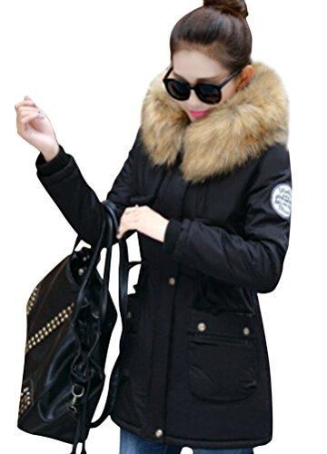 Ghope Damen Herbst Winter Parka Übergangsjacke Dicke Mantel Jacke  Reißverschluss Tasche Winterjacke Windbreaker Kunstfellkragen Fell Kapuze ce3f99add4