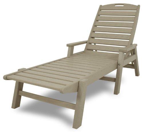 POLYWOOD NCC2280SA Nautical Chaise with Arms - Stackable, Sand