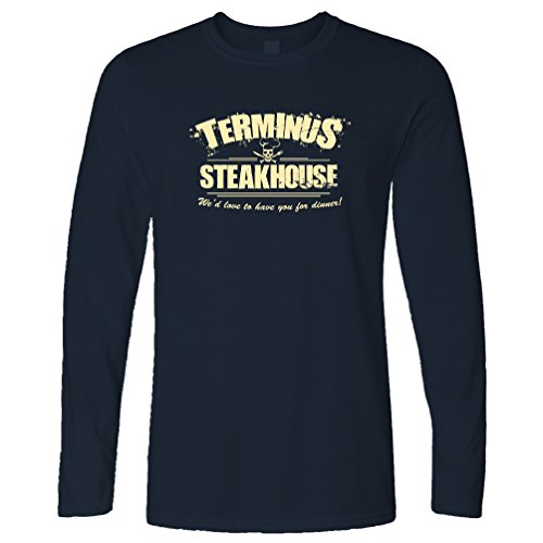 Tim&Ted Zombie - Playera de Manga Larga con Logotipo de Terminus Steakhouse, Azul Marino, X-Large