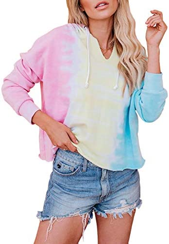 Yanekop Womens Tie Dye Printed Sweatshirt Color Block Pullover Lightweight Slouchy Shirt