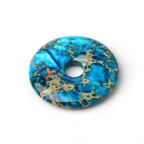 1 x Pale Blue Impression Jasper 40mm Pendant (Donut) - (CB37266) - Charming Beads